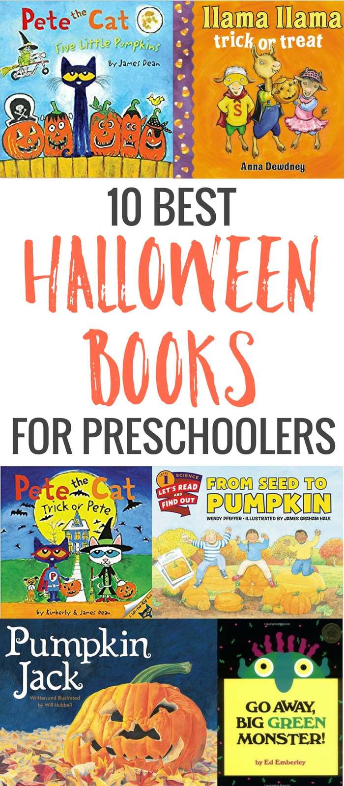 Try a few of these festive stories with your preschooler. Monsters, ghosts, pumpkins and trick or treating. Here are the 10 best Halloween books for kids.