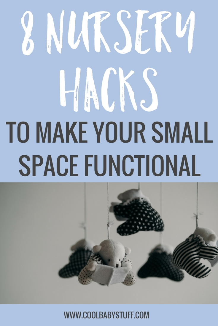 "If you find yourself trying to design your small nursery or ""nursery space"" here are some ideas to make the space as functional and easy to use as possible. Lord knows, we need all the help we can get to make these transitions as smooth as possible! Hopefully these 8 small nursery hacks will help!"